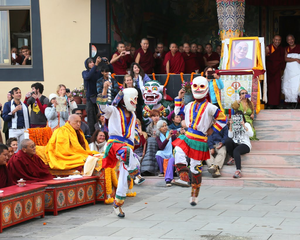 Traditional dances performed outside after the long life puja, Kopan Monastery, Nepal, December 12, 2014. Photo by Ven. Thubten Kunsang.