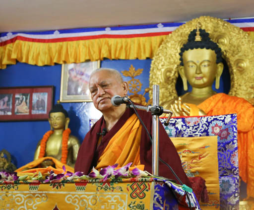 Lama Zopa Rinpoche taught and gave the oral transmission of the Golden Light Sutra at Tushita Mahayana Meditation Centre, Delhi, India, January 25-31, 2015. Photo by Ven. Thubten Kunsang.
