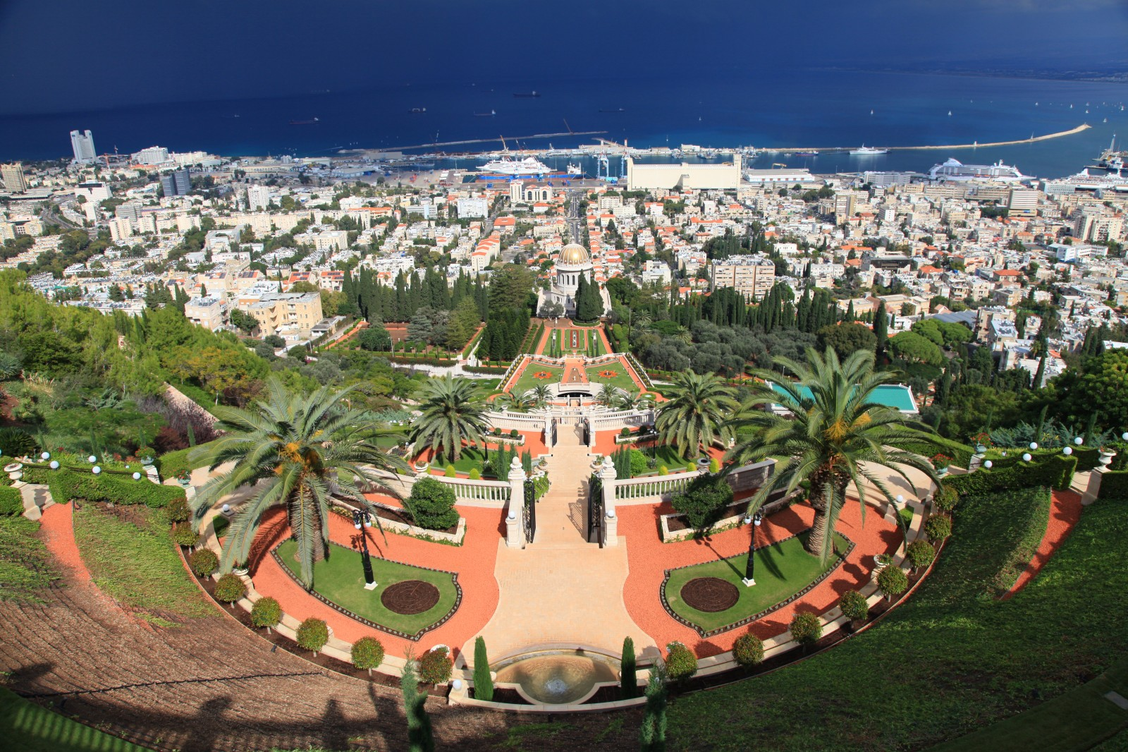 Upper Bahai gardens - Bahai is the 4th largest monotheistic relion, operating more like a sect. The temple in the gardens is their most sacred place. You can take guided tour of the upper part.