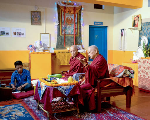 Lama Zopa Rinpoche teaching at Matireya School, Root Institute, India, March 2015. Photo by Andy Melnic.