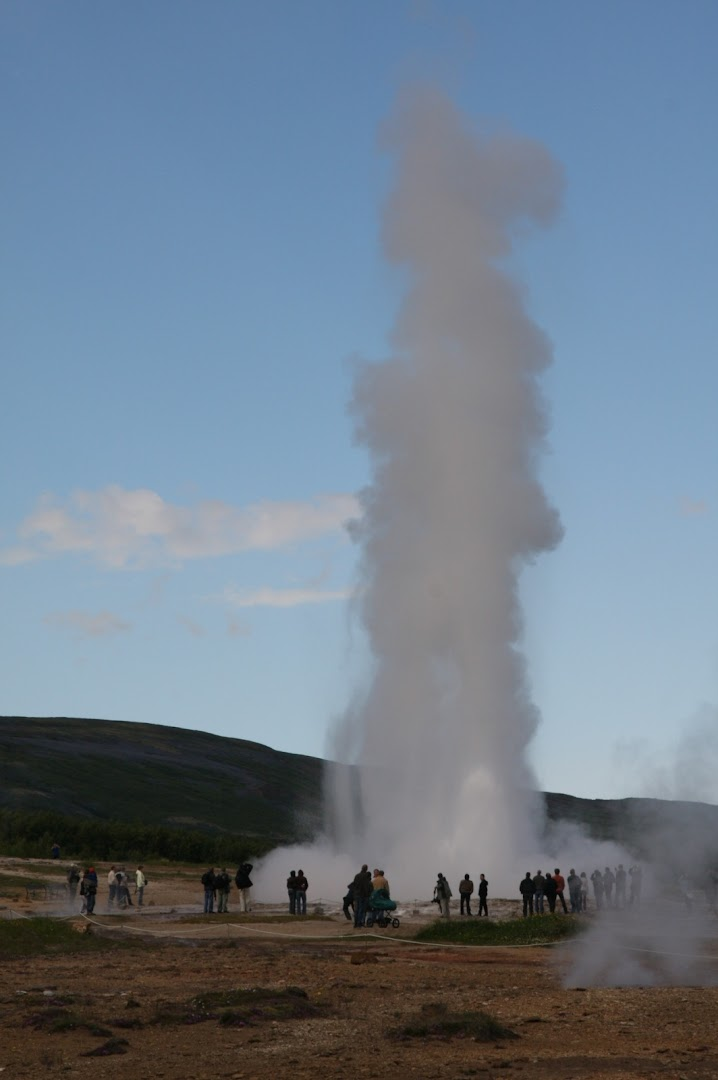 Strokkur (near Geysir) erupts up to 30 m high fairly reliably every 5-10 minute