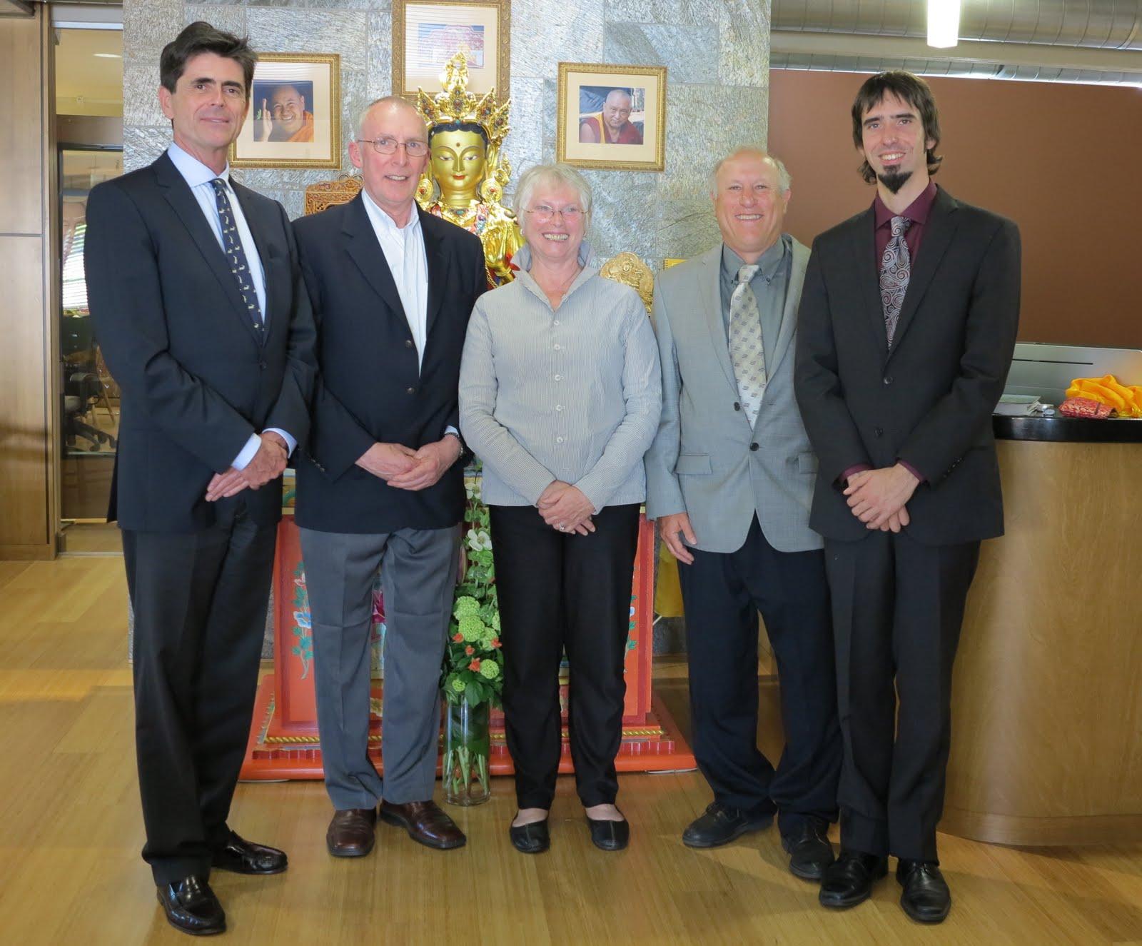 Five FPMT Board Members at FPMT International Office: Tim McNeill, Peter Kedge, Paula de Wijs-Koolkin, Karuna Cayton, Tenzin Ösel Hita.