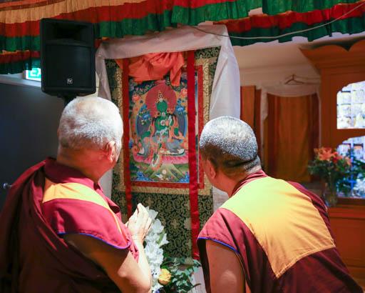 Lama Zopa Rinpoche with Geshe Samten, Vajrayana Institute, Sydney, Australia, June 2015.