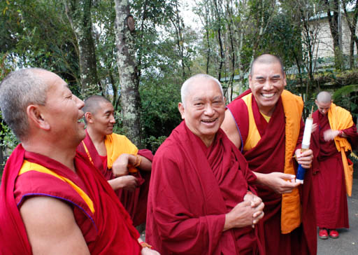 Lama Zopa Rinpoche with Geshe Wangchen and Geshe Tharchin arriving at Chandrakirti Centre, New Zealand, May 2015. Photo by Losang Sherab.