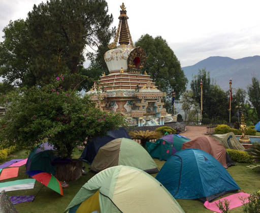 Everyone slept outside after earthquake because of strong aftershocks and damaged buildings, Kopan Monastery, Nepal, April 2015. Photo by Ven. Sarah Thresher.
