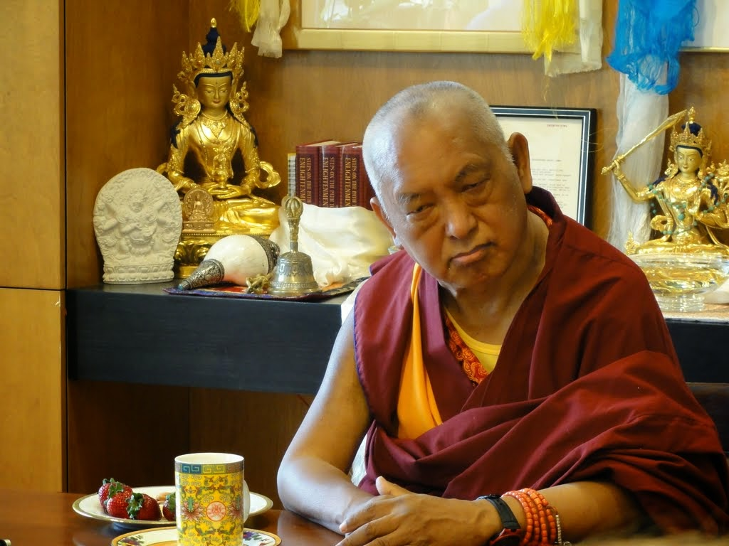 Lama Zopa Rinpoche listening to presentations by the FPMT International Office staff, April 2014. Photo by Ven. Holly Ansett.