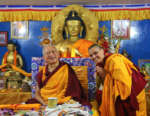 Lama Zopa Rinpoche with Ven. Gyalten Samten at Tushita Mahayana Meditation Centre, Delhi, January 2015. Photo by Ven. Thubten Kunsang.