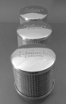 """Aluminum Edmunds Custom Air cleaners for 2 5/8 carb necks. there are 4 1/2"""" round and 65.00 each. Smooth top and shorter style also for 45.00 each."""