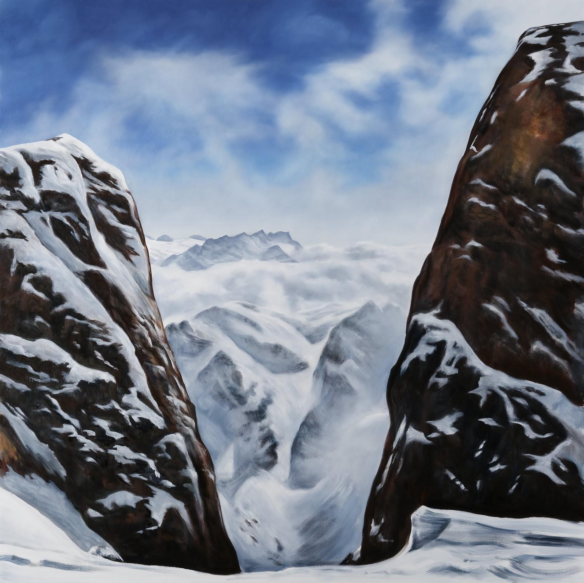 Leg eine Blume in den Schnee   2009   Oel auf Leinwand   170 x 170 cm