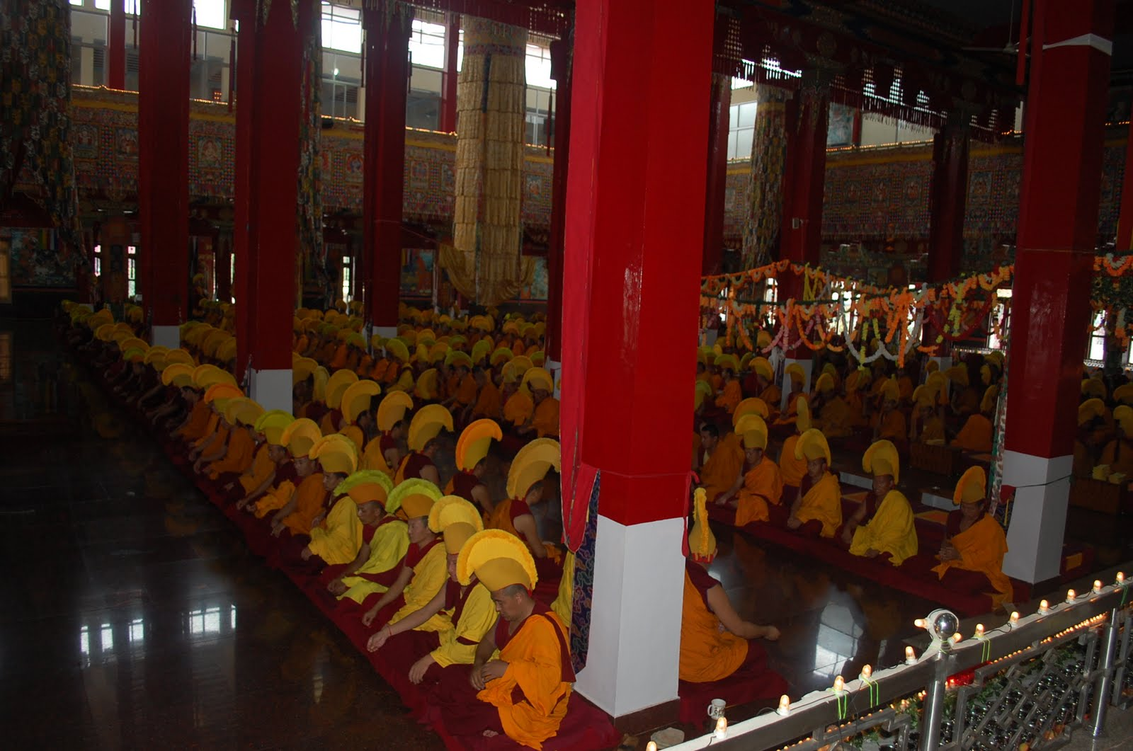 Monks at Sera Mey Monastery Offering Medicine Buddha Puja
