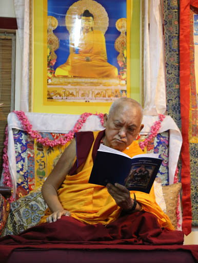 Lama Zopa Rinpoche gave the Heruka Five Deities initiation at Choe Khor Sum Ling, Bangalore, India, January 10-15, 2015. Photo by Ven. Thubten Kunsang.