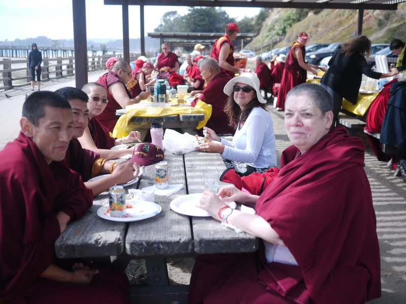 Lunch offered to the Sangha at the beach