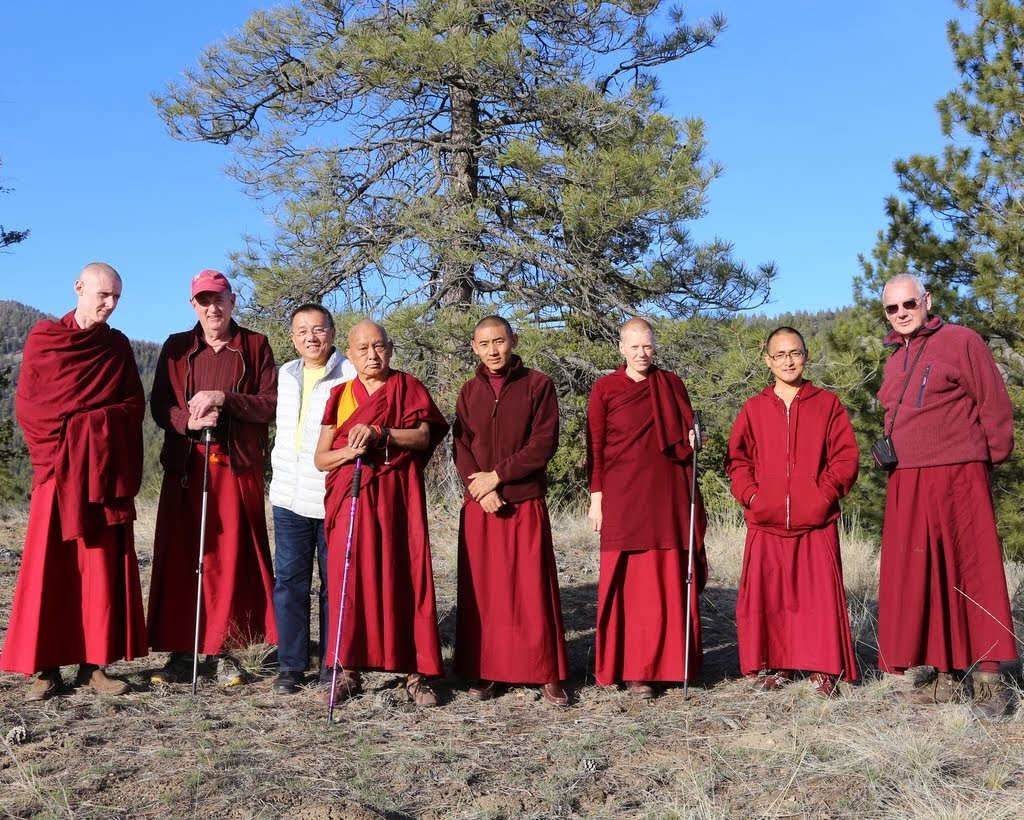 Lama Zopa Rinpoche at Buddha Amitabha Pure Land with Ven. Tharchin, Ven. Yarphel, Salim Lee, Ven. Sangpo, Ven. Holly Ansett, Ven. Sherab and Ven. Roger Kunsang, Washington, US, April 2014. Photo by Ven. Thubten Kunsang.
