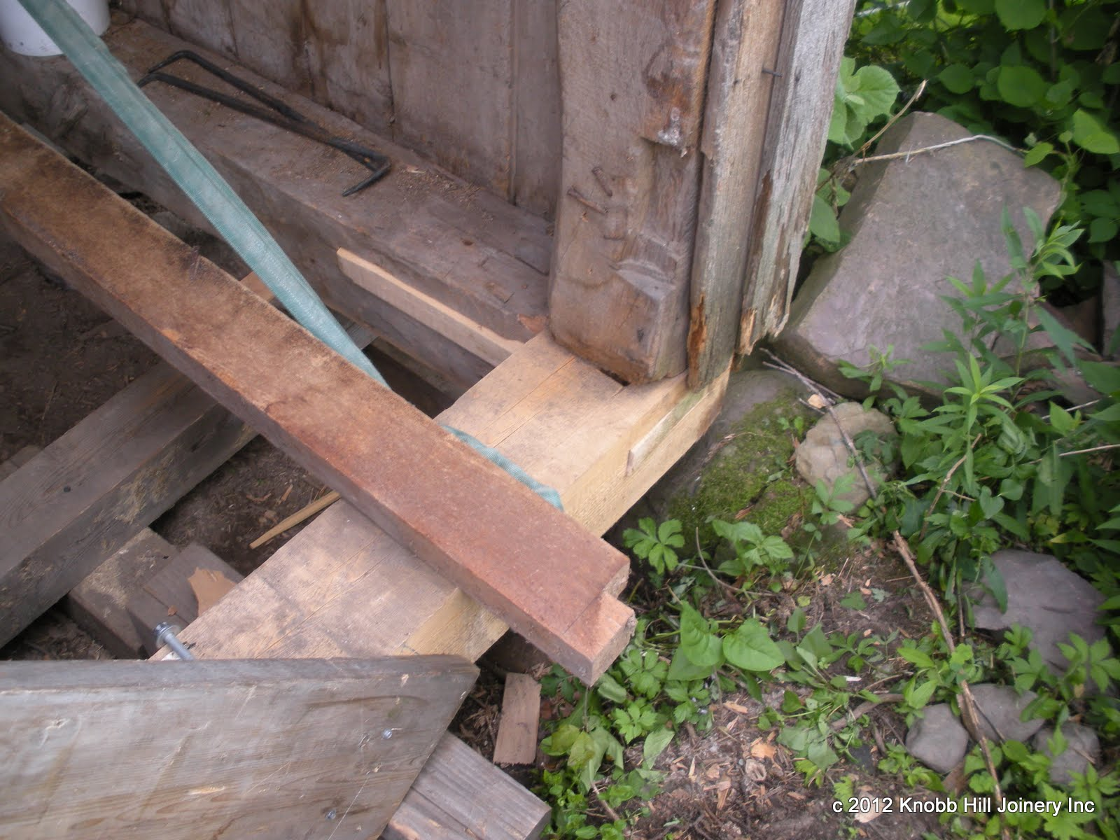 We used half dovetail through tennons to help anchor the new sills in place and keep the stub tennons on the post feet intact.