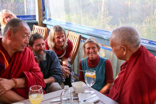 Lama Zopa Rinpoche and Geshe Thubten Wangchen with Chandrakirti students, New Zealand, May 2015. Photo by Ven. Thubten Kunsang.