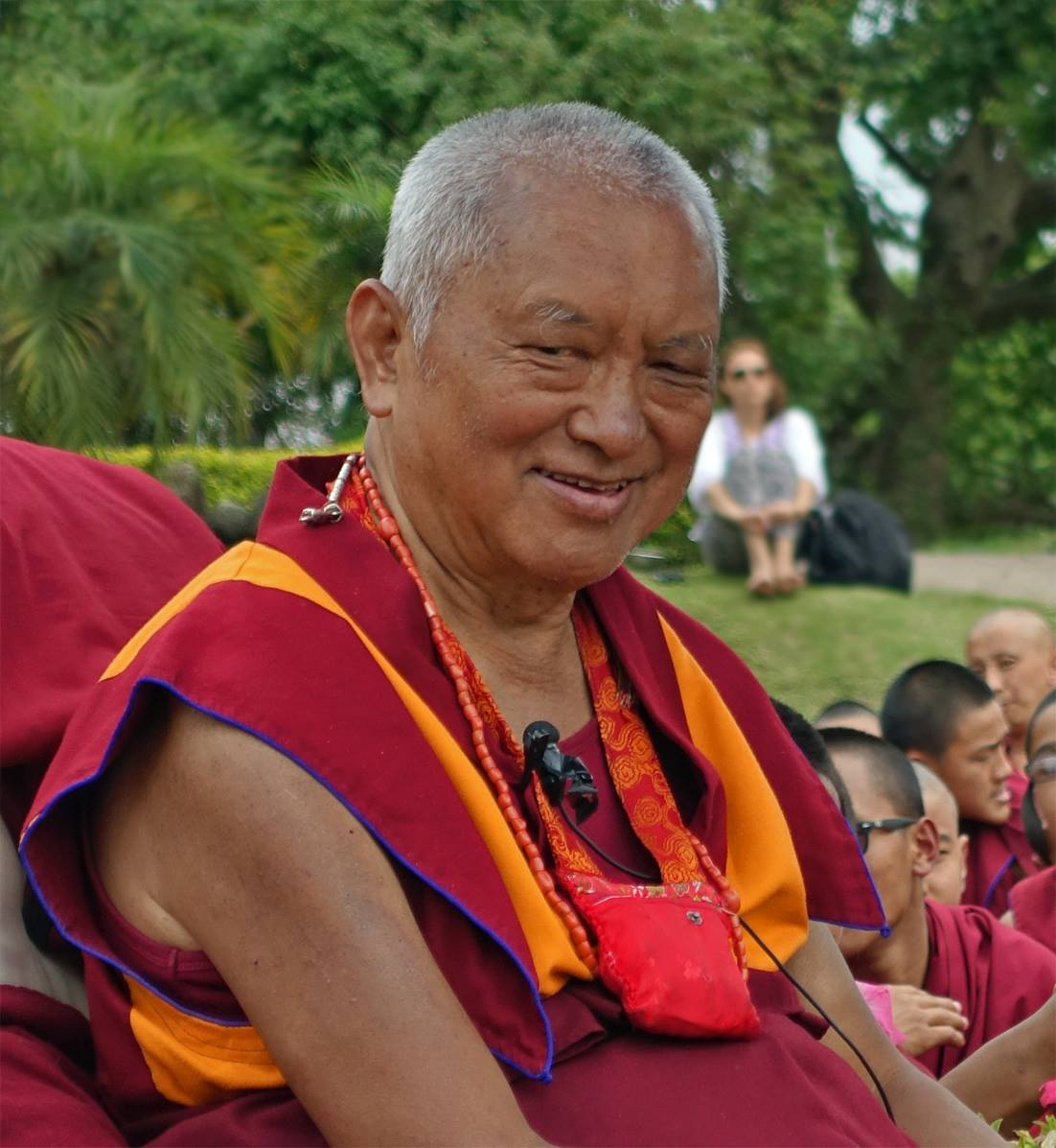 Lama Zopa Rinpoche in garden at Kopan Monastery on the day after the earthquake, Nepal, April 25, 2015.