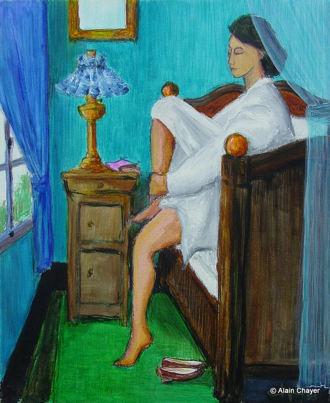 027 - Au Bord du Lit - 1993 46 x 38 - Acrylique sur toile