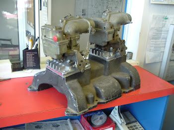 This is the the first aftermarket intake I know of, the company was Golden Eng. in Glendale CA. Made in early 1953 and Max Balchowsky used one like it clocked at 135 mph!