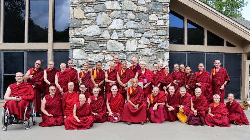Lama Zopa Rinpoche with Sangha at Light of the Path retreat, May 16, 2014