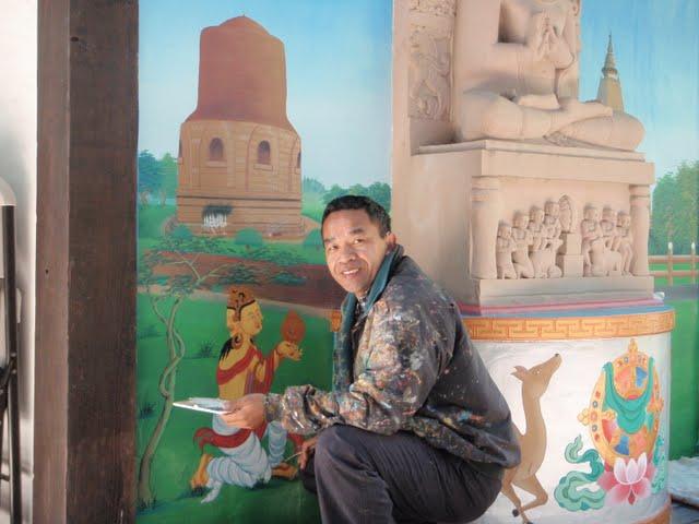 Gelek painting mural at Vajrapani Institute, California, USA, October 2010