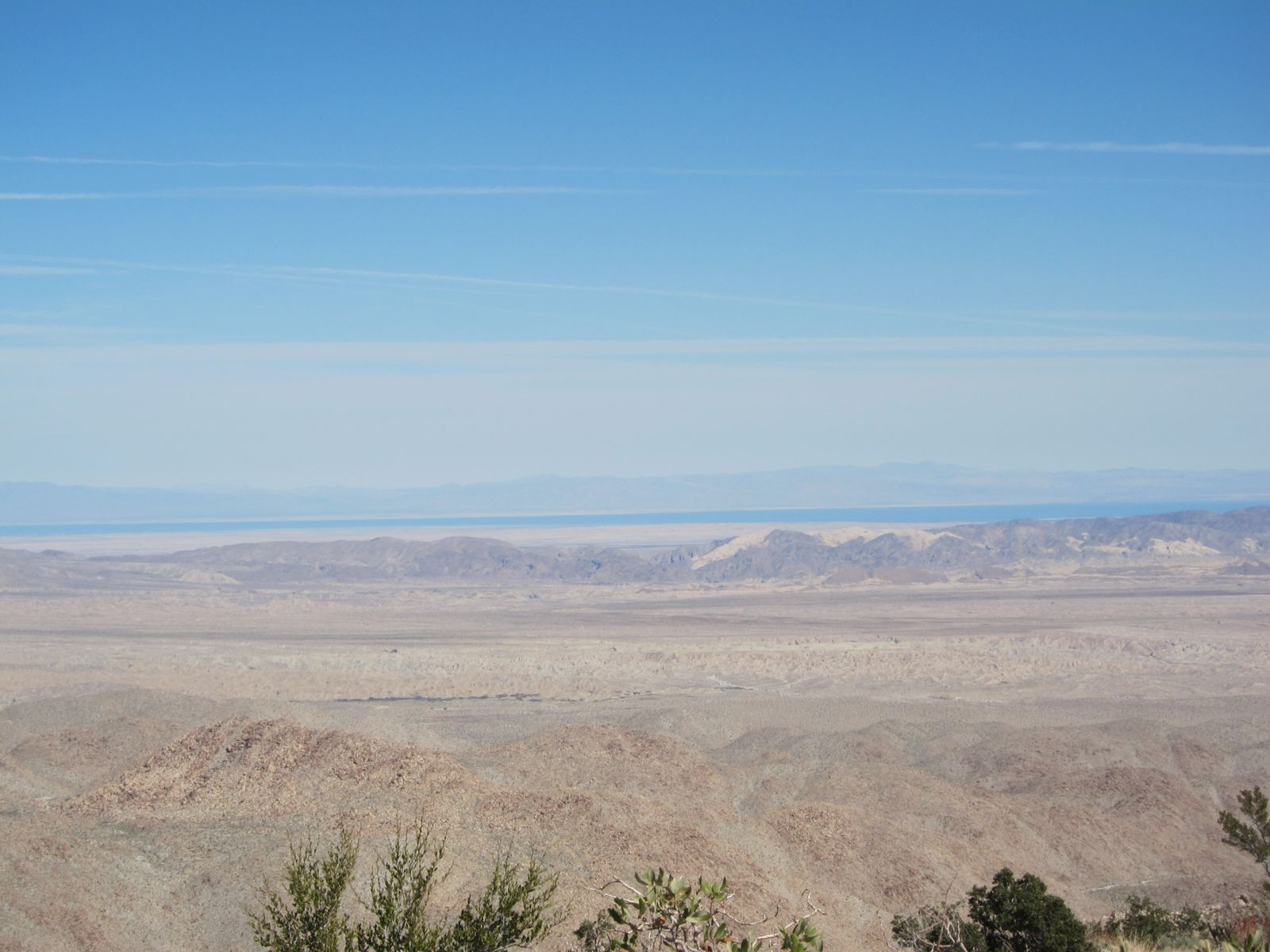 View of the Salton Sea from high up on the ridge above Indian Valley