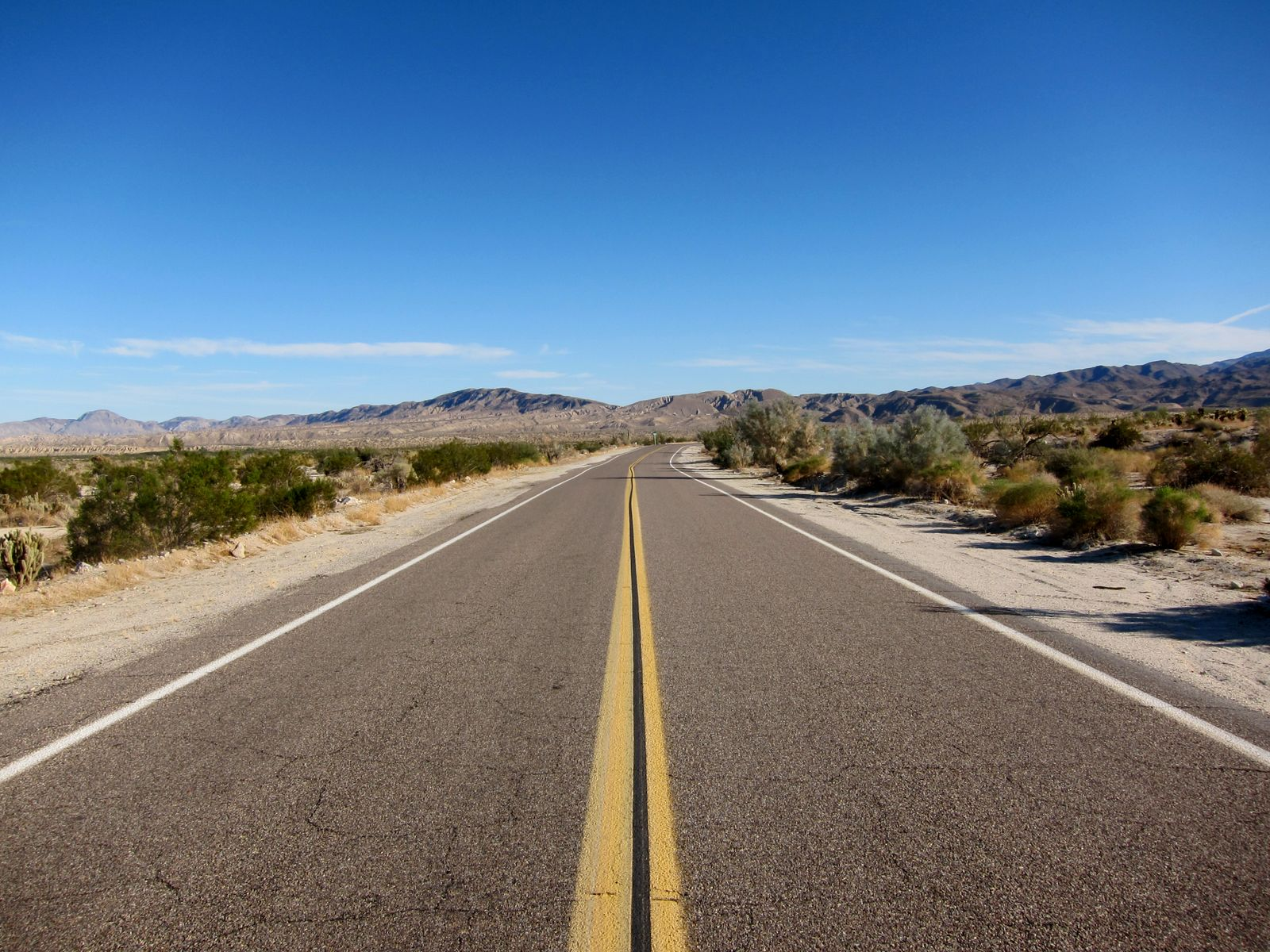 Anza Borrego's S2 highway was deserted on this Thursday afternoon