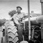 Ted Keep on tractor. From Mrs Keep's album.