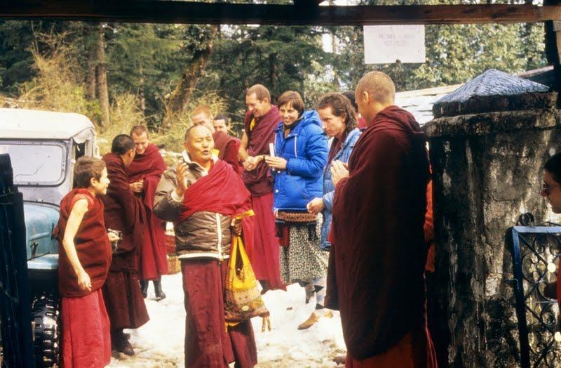 Wangchuk Meston greets Lama Yeshe at Tushita Retreat Centre, McLeod Ganj, India, c. 1978