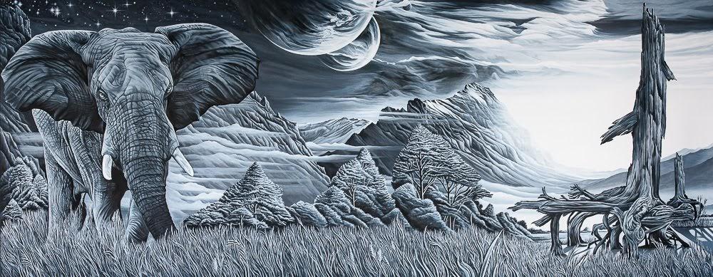 Schritte in eine ruhige, grenzenlose Welt 2017 Oel auf Leinwand 280 x 110 cm