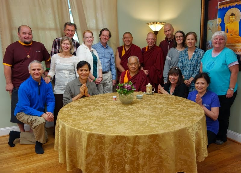 Lama Zopa Rinpoche with Light of the Path staff, Black Mountain, North Carolina, US, May 2014. Photo by Ven. Roger Kunsang.