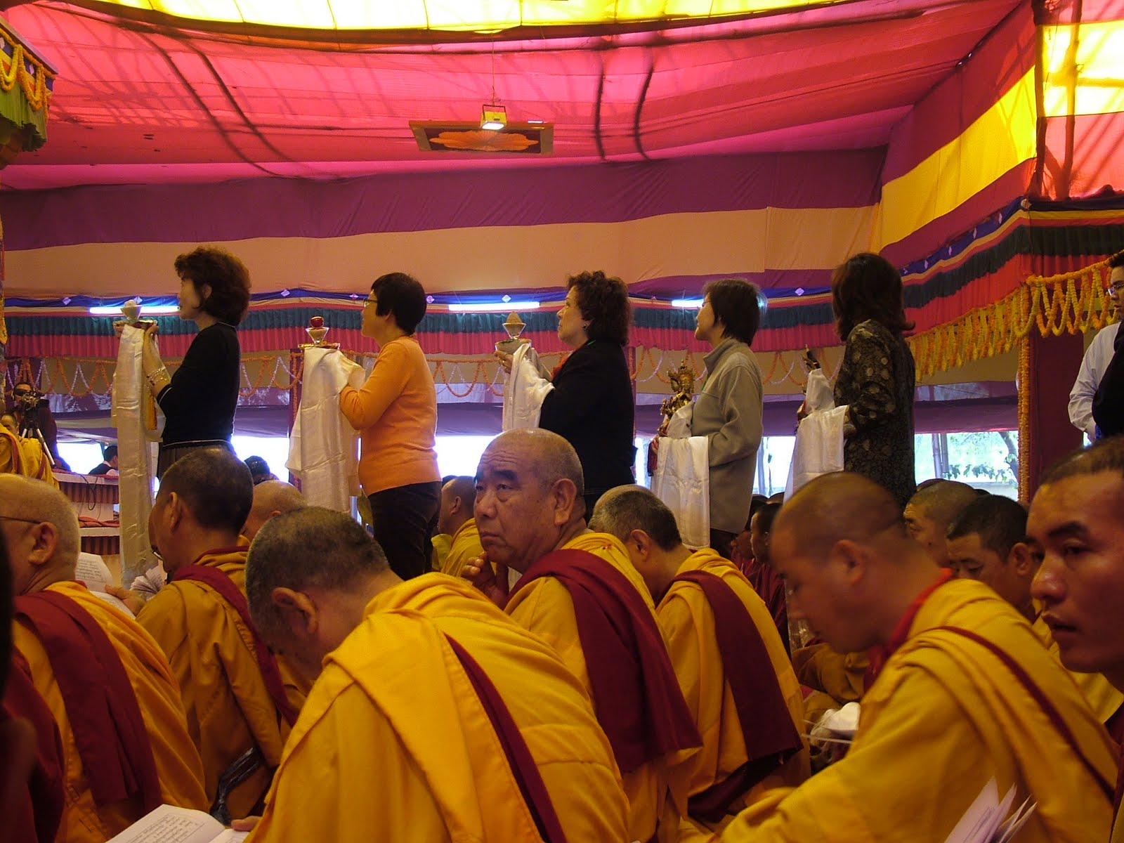 FPMT Geshes during long life puja offered to His Holiness the Dalai Lama in Saranath January 2008.