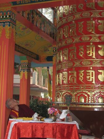 Large prayerwheel at Root Institute, Bodh Gaya, India.