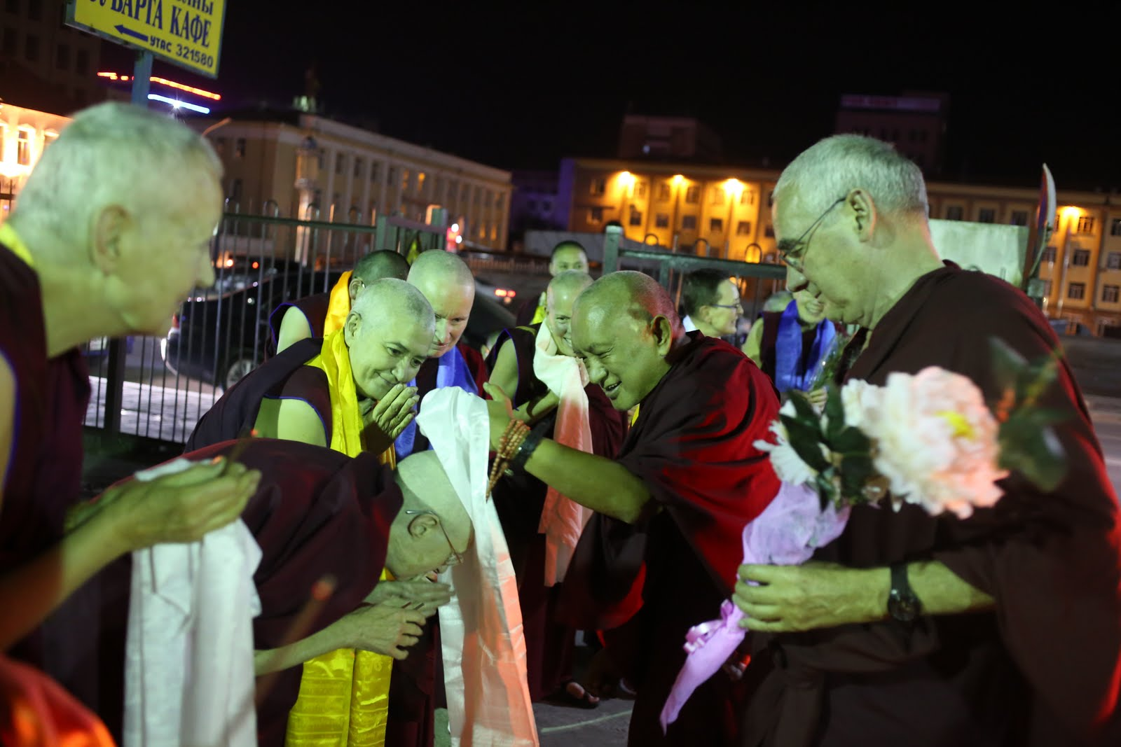 Rinpoche arriving from the airport at the center in Mongolia after midnight.August 13, 2013.Photo: Ven.Thubten Kunsang