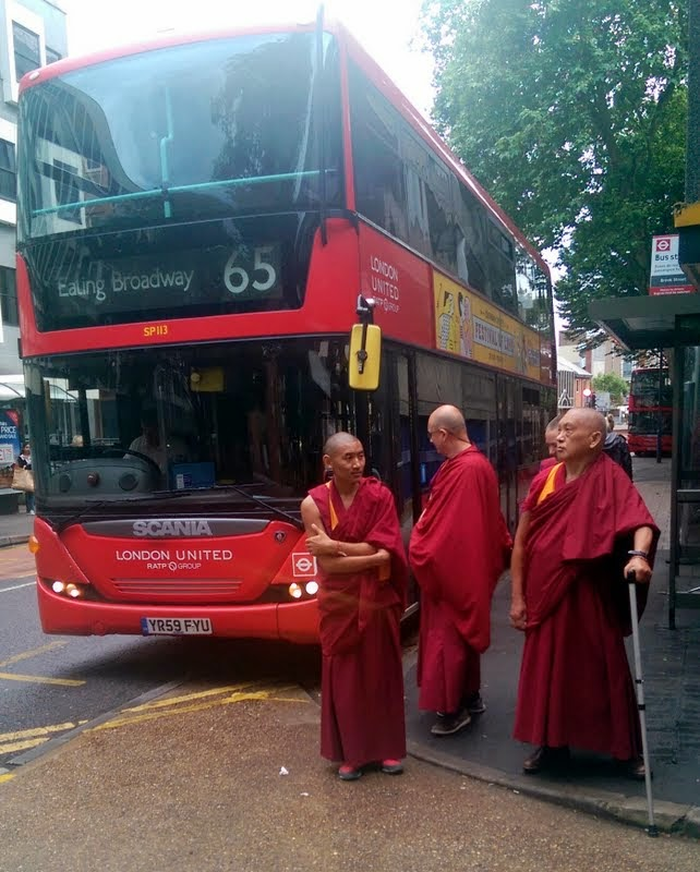 Lama Zopa Rinpoche arriving London, UK, July 2014. Photo by Ven. Roger Kunsang.