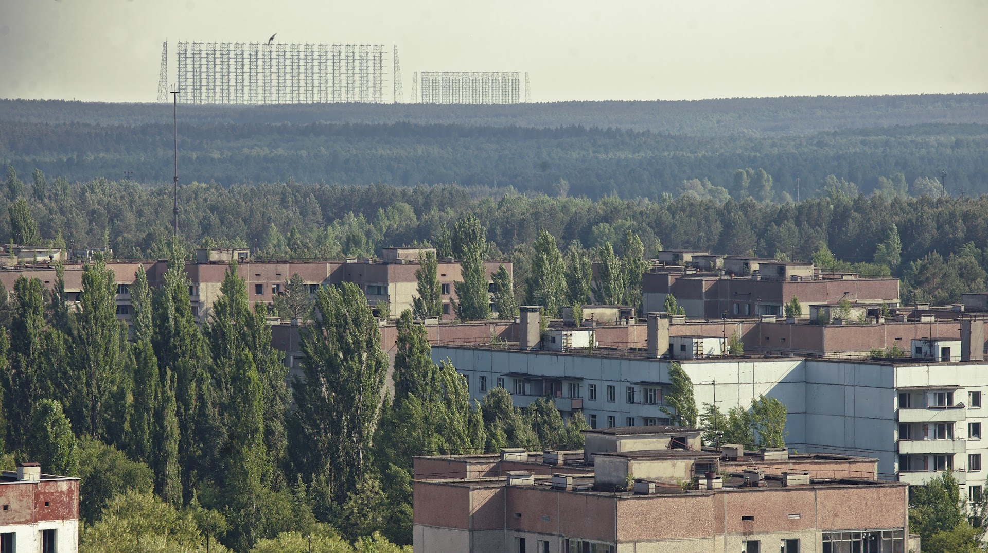 Duga-2 antennas are visible from the city