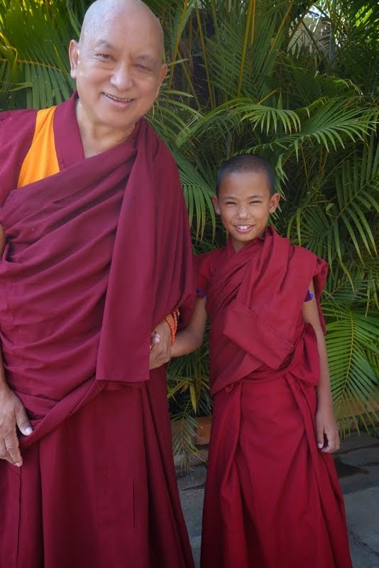 Lama Zopa Rinpoche with the tulku of Gen Lamrimpa, Sera Me Monastery, India, January 2014. Photo by Ven. Roger Kunsang.