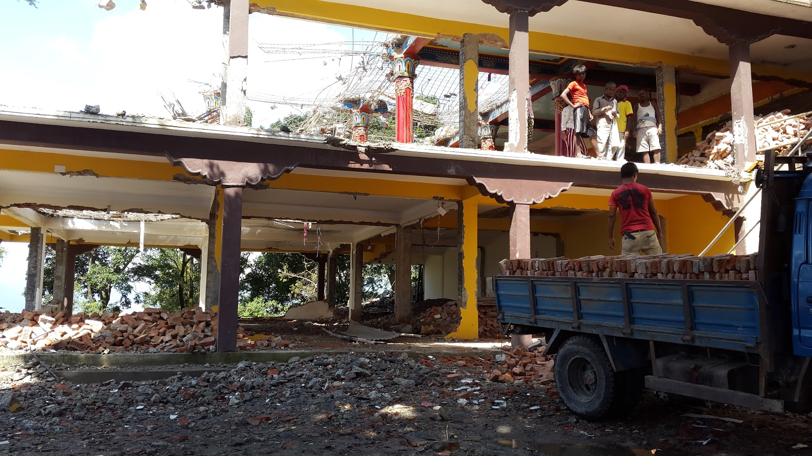Chenrezig Gompa, later stages of preliminary demolition, September 2015.