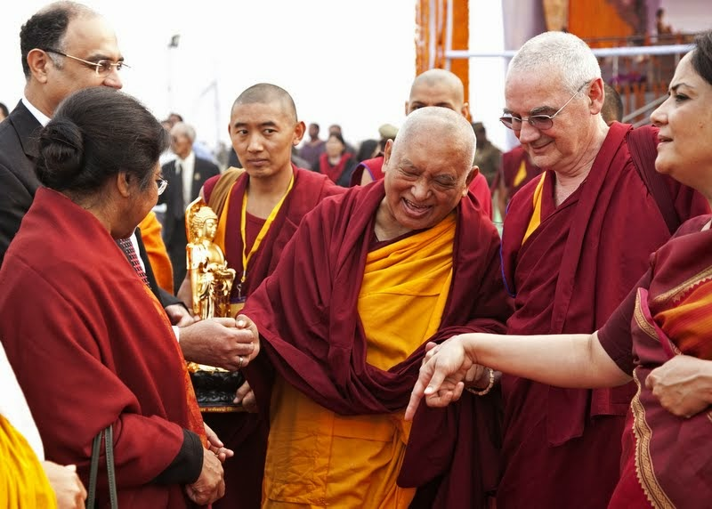 Lama Zopa Rinpoche after ceremony, Kushinagar, India, December 13, 2013. Photo by Andy Melnic.