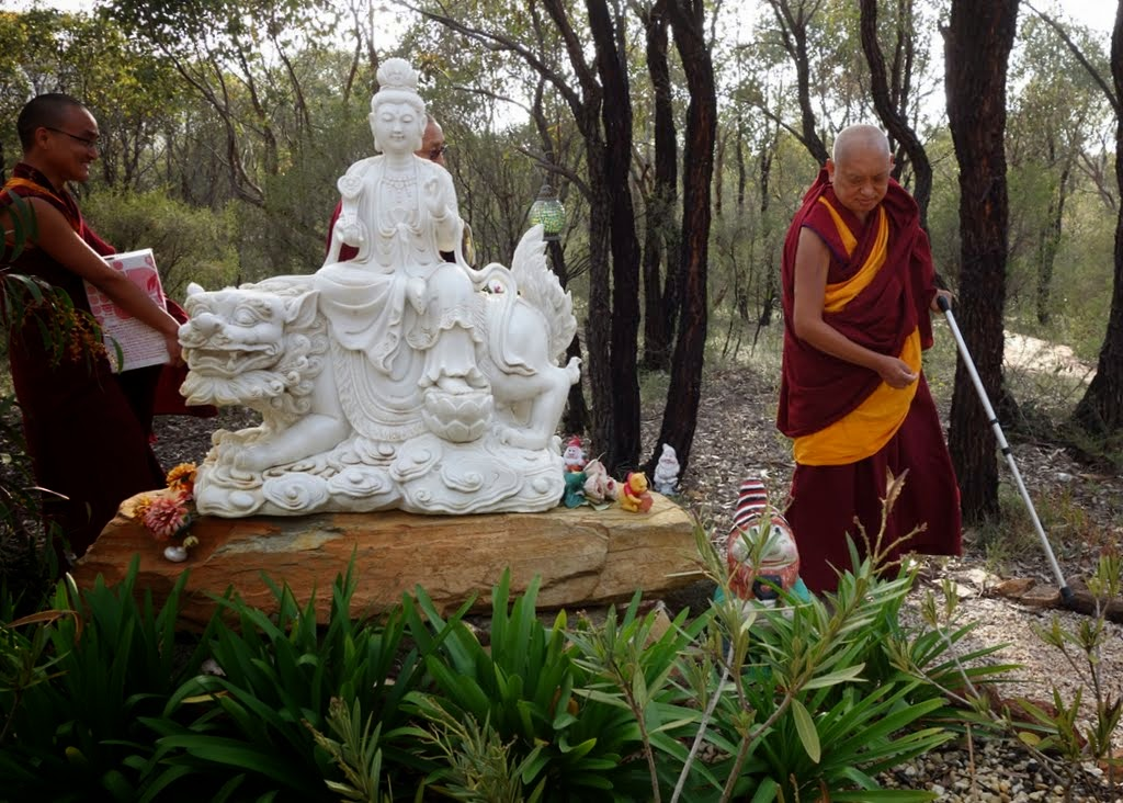 Lama Zopa Rinpoche walking through the bush to Thubten Shedrup Ling, Australia, September 2014. Photo by Ven. Roger Kunsang.
