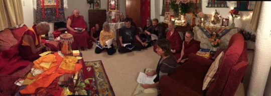 Lama Zopa Rinpoche with students doing prayers after hearing about second big earthquake in Nepal, Mahamudra Centre, New Zealand, May 2015. Photo by Ven. Roger Kunsang.