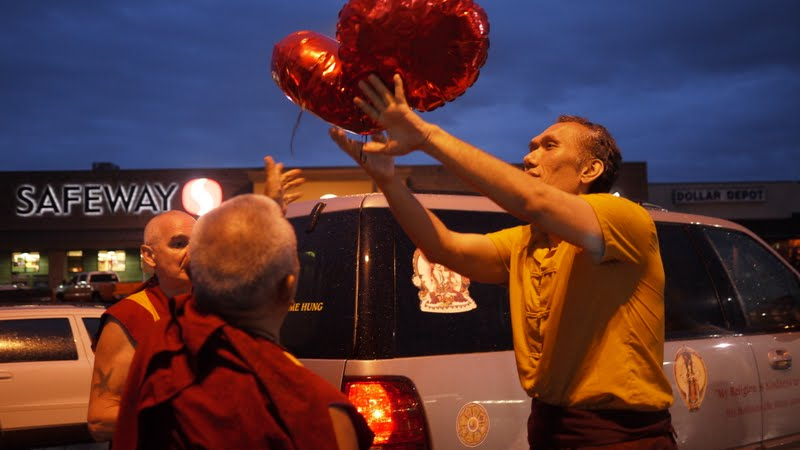 With Yangsi Rinpoche releasing prayer balloon