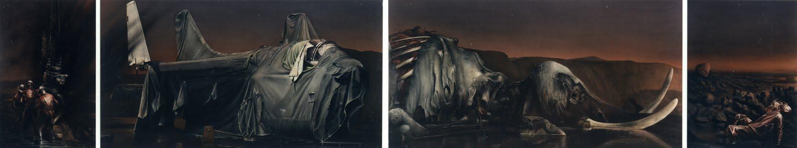 Oel   1995   Aquarell   4-teilig   69 x 348 cm