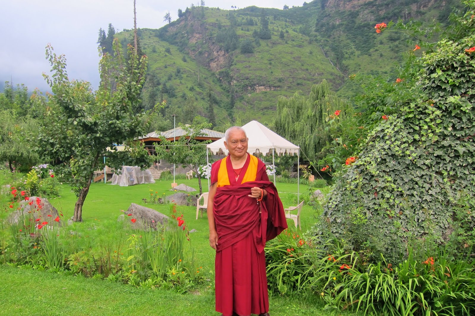 Rinpoche in Manali, India, enjoying the gardens. July, 2013. Photo Ven. Sarah Thresher