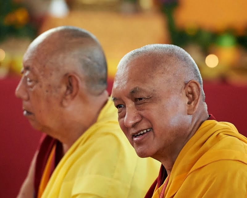 Lama Zopa Rinpoche with the abbot of Sera Je Monastery, Pomaia, Italy, June 13. Photo by Olivier Adam.