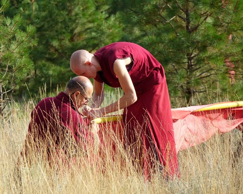 Vens. Kunsang and Tharchin, Buddha Amitabha Pure Land, Washington, US, August 2014. Photo by Ven. Roger Kunsang.