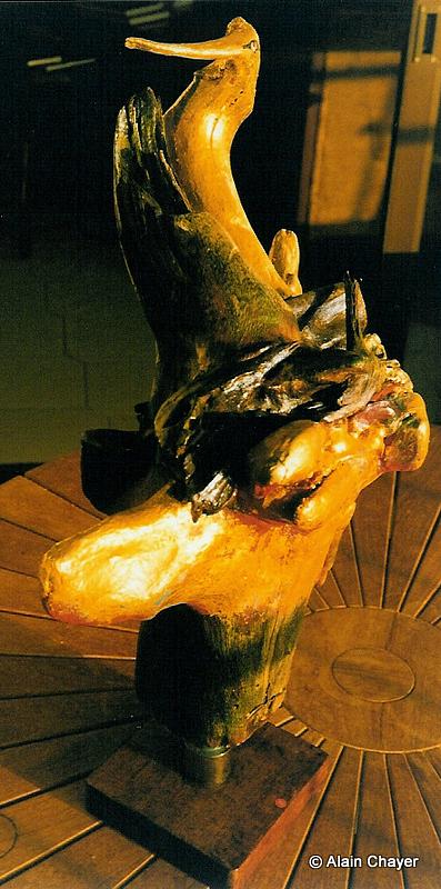 077 - L'Oiseau de la Lopé - 1997 Sculpture  Dorure à l'or fin sur bois polychrome