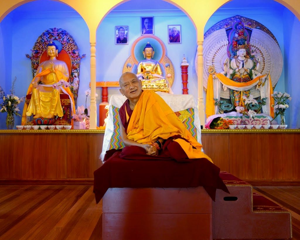 Lama Zopa Rinpoche in the new gompa at Thubten Shedrup Ling Monastery, Bendigo, Australia, November 2014. Photo by Ven. Roger Kunsang.