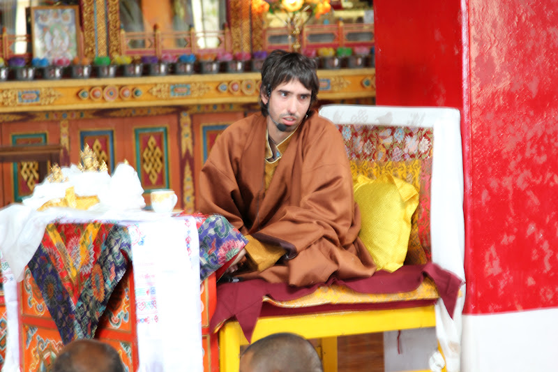 Osel in Kopan Monastery giving a talk to the monks, July 2011