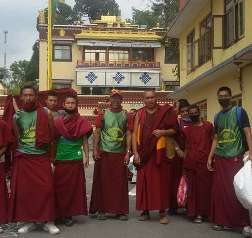 Kopan monks got to work cleaning camping areas after the earthquake, Kathmandu, Nepal, April 2015