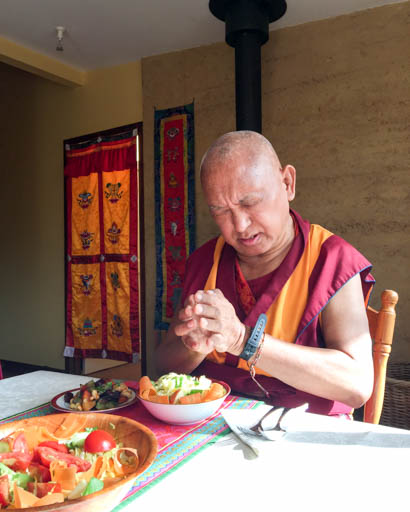 Lama Zopa Rinpoche having a meal, De-Tong Ling Retreat Centre, Kangaroo Island, Australia, May 2015. Photo by Ven. Thubten Kunsang.
